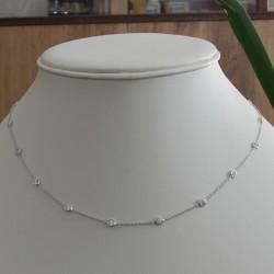 Catena - Catenina maglia Rolò in Oro Bianco 750 /1000 con Diamanti taglio Brillante