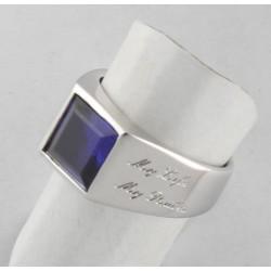 Anello Argento con Zaffiro sintetico carrè, sigillo (Chevalières)
