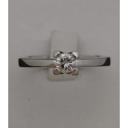 Anello Solitario Oro Bianco con Diamante taglio Brillante
