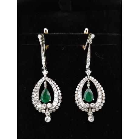 Art Decò - Orecchini in Platino con Diamanti e Smeraldi a Goccia