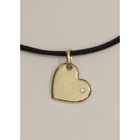 Ciondolo - Pendente in Oro a Cuore con Diamante taglio Brillante