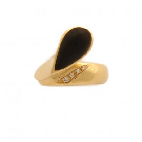 Anello in Oro Giallo 750/1000 con Brillanti e goccia in Ebano