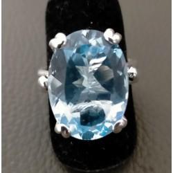 Anello Cestino a filo con Topazio Azzurro in argento
