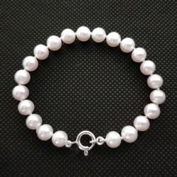 Bracciale - Braccialetto Perle con Chiusura Moschettone in Oro Giallo 750/1000