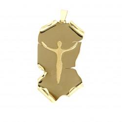 Ciondolo Crocifisso - Cristo stilizzato con piastra modellata effetto pergamena