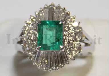 Anello in Platino Smeraldo e Diamanti